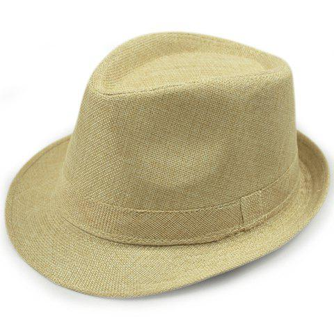 Stylish Solid Color Flanging Flax Jazz Hat - LIGHT YELLOW