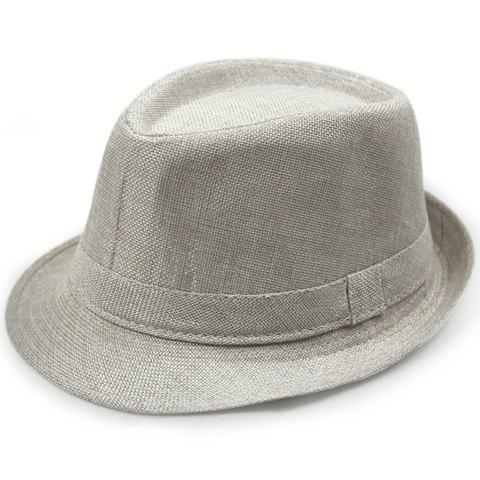 Stylish Solid Color Flanging Flax Jazz Hat - OFF WHITE