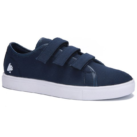 Concise Color Block and Print Design Men's Canvas Shoes - DEEP BLUE 43