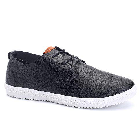 Simple PU Leather and Color Matching Design Men's Casual Shoes - 44 BLACK