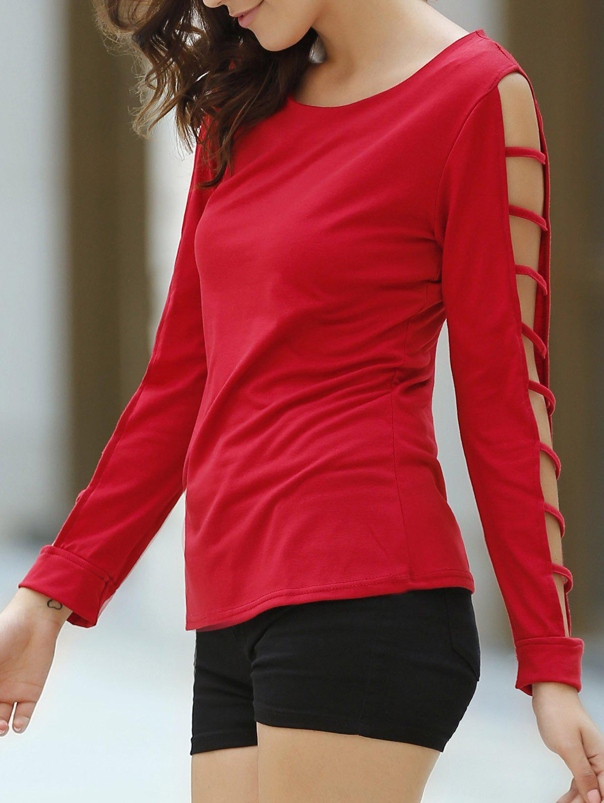 Casual Solid Color Cut Out Long Sleeve Pullover T-Shirt For Women