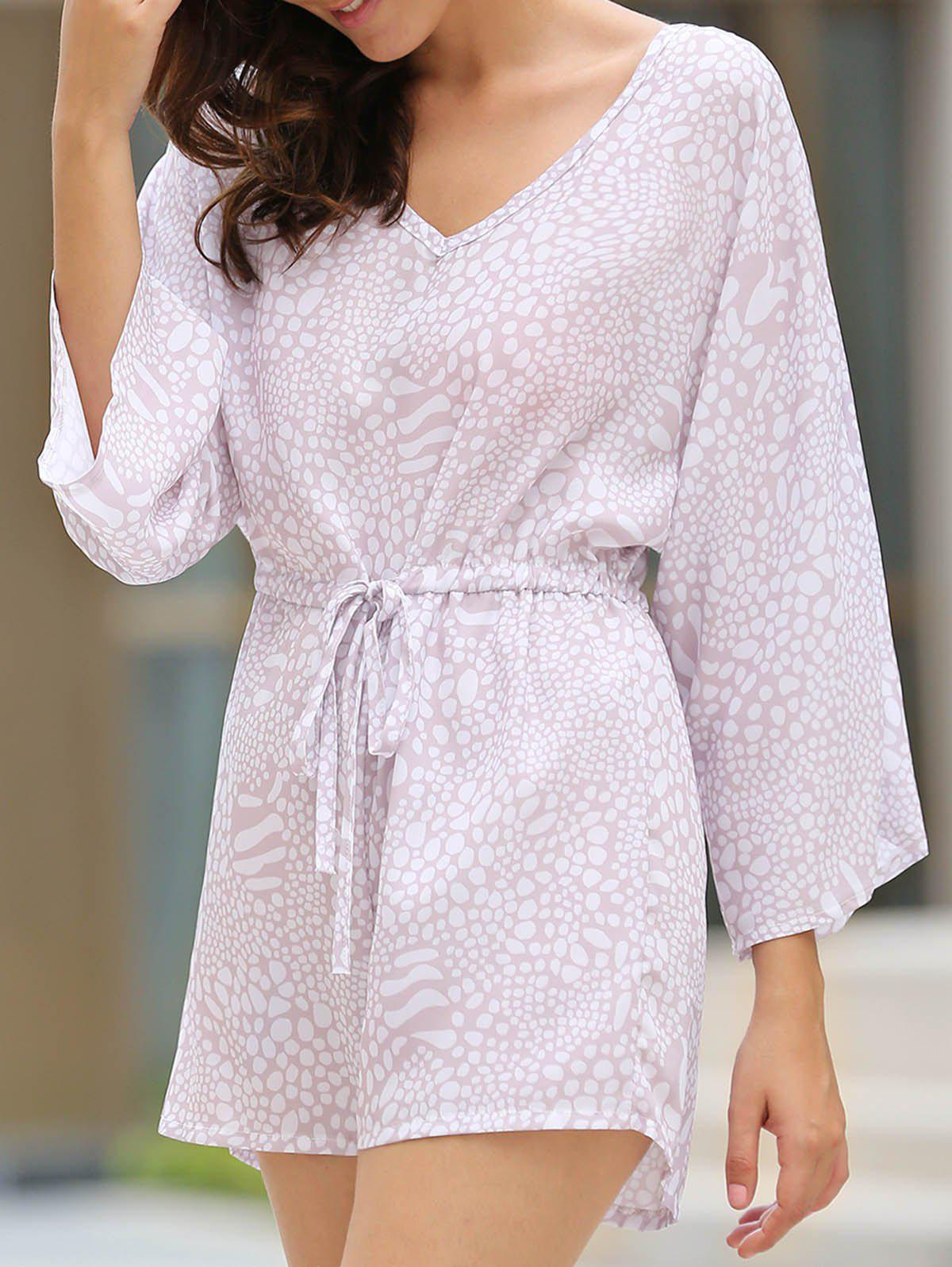 Trendy V-Neck Waist Drawstring Printed Romper For Women - COLORMIX L