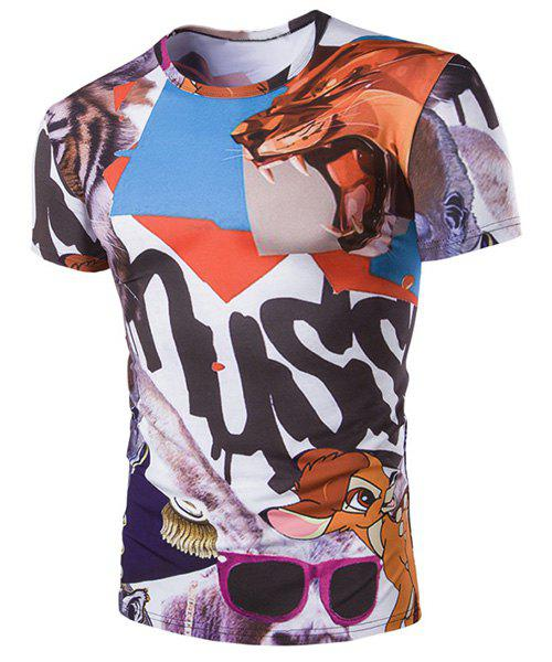 Slim Fit Cartoon Animals Printed Pullover T-Shirt For Men - COLORMIX M
