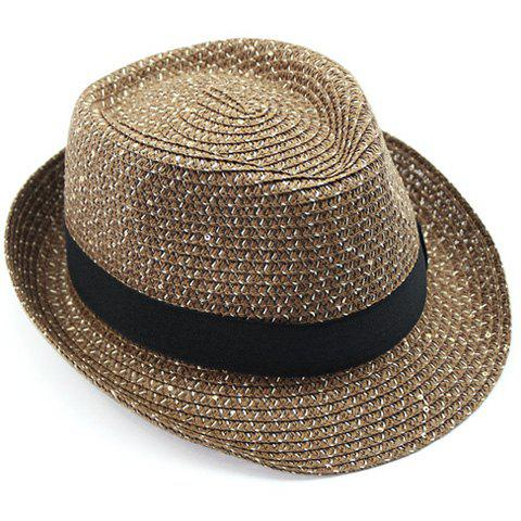 Stylish Black Strappy and Sequins Embellished Flanging Men's Straw Hat - COFFEE