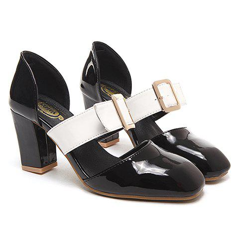 Trendy Buckle and Square Toe Design Pumps For Women - BLACK 38