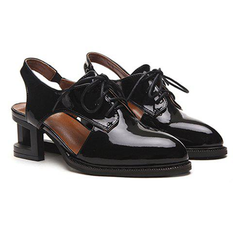 Casual Hollow Out and Lace-Up Design Pumps For Women - BLACK 36