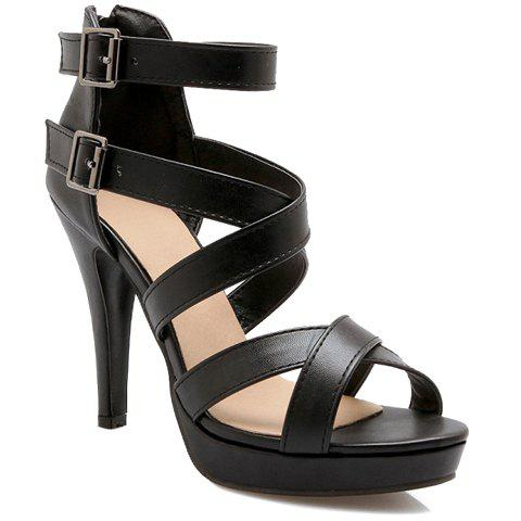 Graceful Cross-Strap and Buckle Design Women's Sandals - BLACK 36