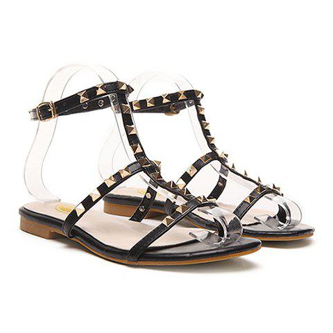 Leisure Rivets and T-Strap Design Sandals For Women - 39 BLACK