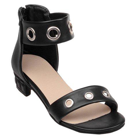 Sweet Ankle-Wrap and Chunky Heel Design Women's Sandals - BLACK 37