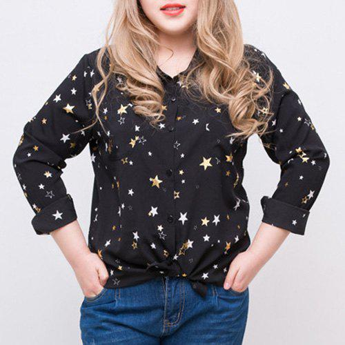 Trendy Long Sleeve Shirt Collar Button Design Star Print Women's Shirt - BLACK XL