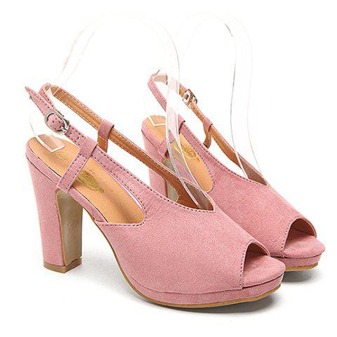 Fashionable Solid Color and Peep Toe Design Women's Sandals - PINK 38