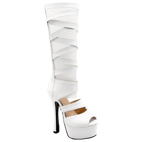 Fashion Cross-Strap and Super High Heel Design Women's Sandals - WHITE 38