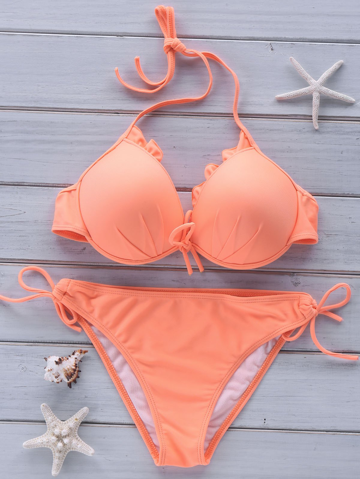 Alluring Candy Color Halter Bikini Suit For Women