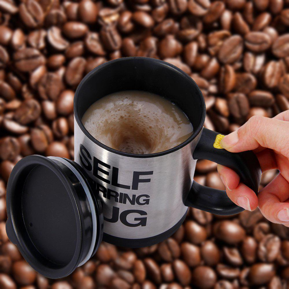Creative 350ML Stainless Steel Automatic Stirring Mixing Coffee Cup Mugs - BLACK