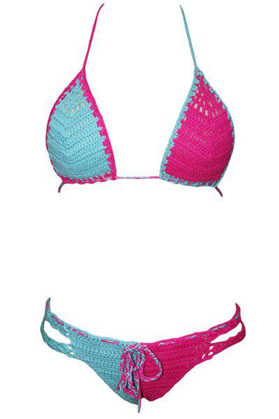 Stylish Halter Hit Color Crochet   Bikini For Women - AZURE ONE SIZE(FIT SIZE XS TO M)