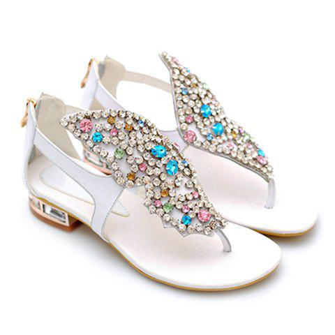Trendy Rhinestones and Butterfly Design Women's Sandals - WHITE 37