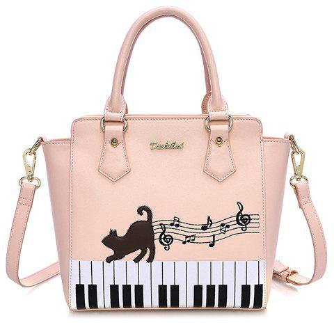 Stylish Animal Print and Piano Keyboard Design Women's Tote Bag - PINK