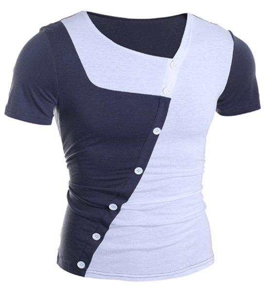 Bouton Trendy Color Design Splicing Skew Collar manches courtes T-shirt amincissant Polyester - Blanc M