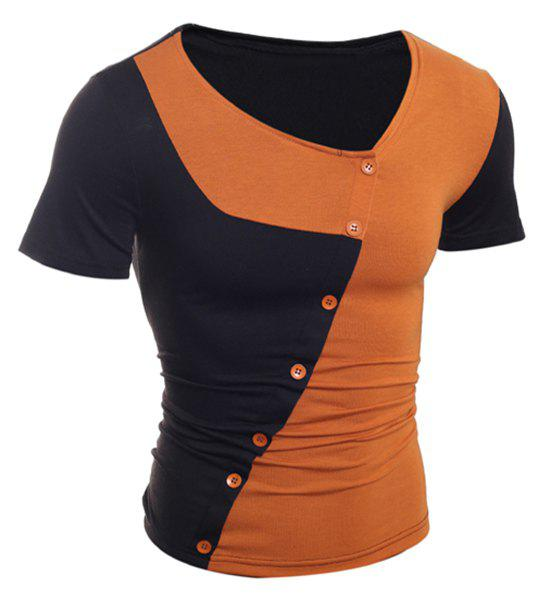 Bouton Trendy Color Design Splicing Skew Collar manches courtes T-shirt amincissant Polyester - BRUN M