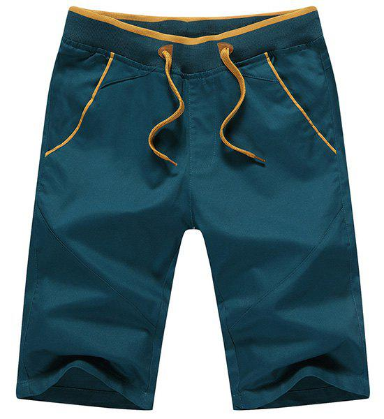 Lace Up Straight Legs Solid Color Shorts For Men - BLACKISH GREEN XL
