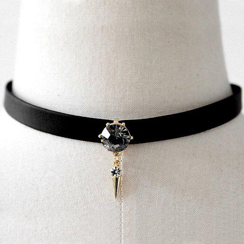 Faux Crystal Rivet Choker Necklace