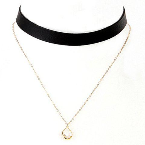 Layered Water Drop Faux Leather Necklace