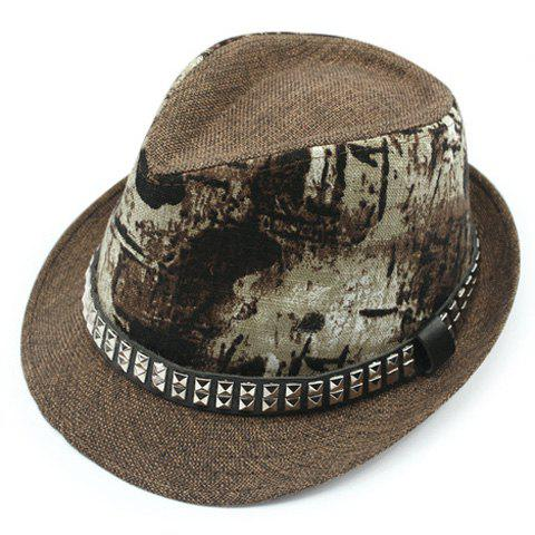 Stylish Rivets Belt Embellished Sun-Resistant Men's Flax Printed Jazz Hat - COFFEE