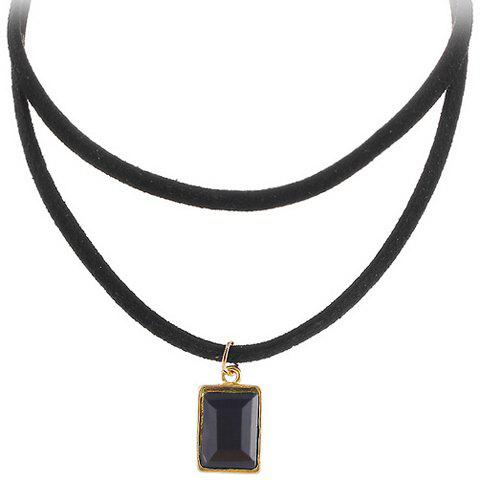 Geometric Multilayered Choker Necklace - BLACK