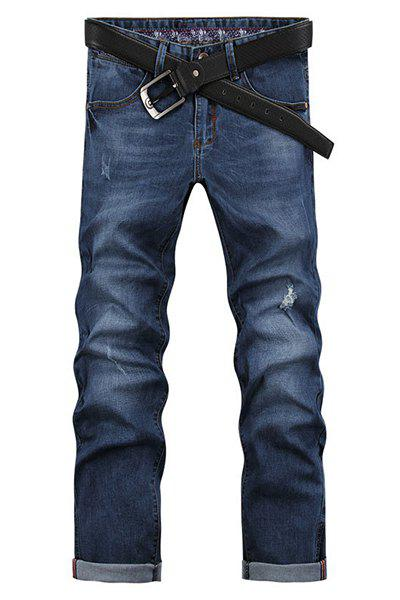 Men's Ripped Zip Fly Denim Cropped Pants - BLUE 32