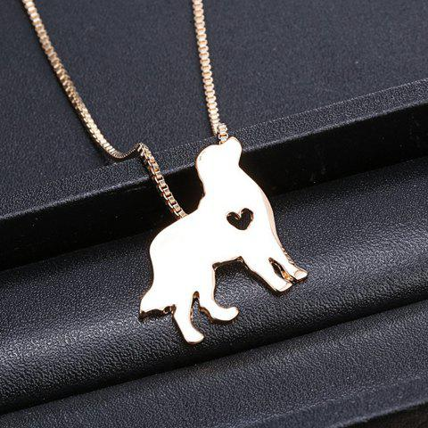 Sweet Solid Color Heart Dog Pendant Necklace For Women - GOLDEN