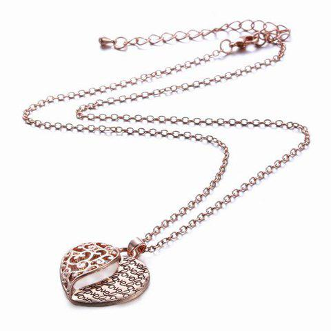 Hollow Out Heart Pendant Necklace - ROSE GOLD