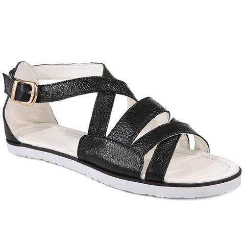 Casual Flat Heel and Cross Straps Design Women's Sandals - BLACK 34