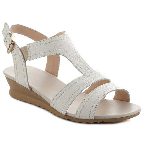 Concise White Colour and T-Strap Design Womens SandalsShoes<br><br><br>Size: 38<br>Color: WHITE
