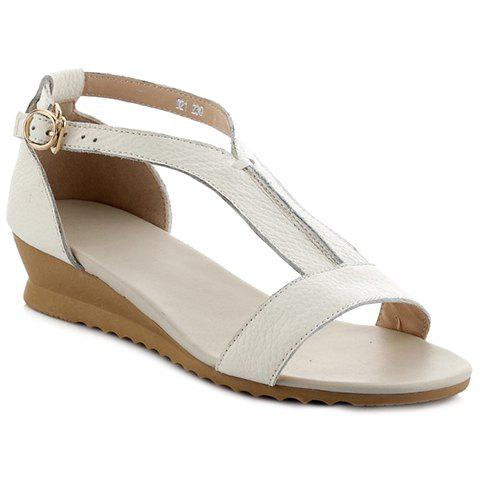 Concise T-Strap and PU Leather Design Women's Sandals - WHITE 38