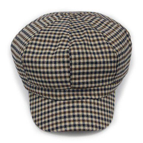Chic Houndstooth and Plaid Pattern Women's Newsboy Hat - KHAKI
