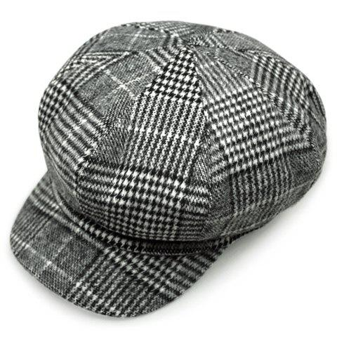 Chic Houndstooth and Tartan Pattern Women's Newsboy Hat - BLACK