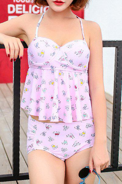 Sweet Women's Halter Cat Print High Waist Tankini Set - PINK XL