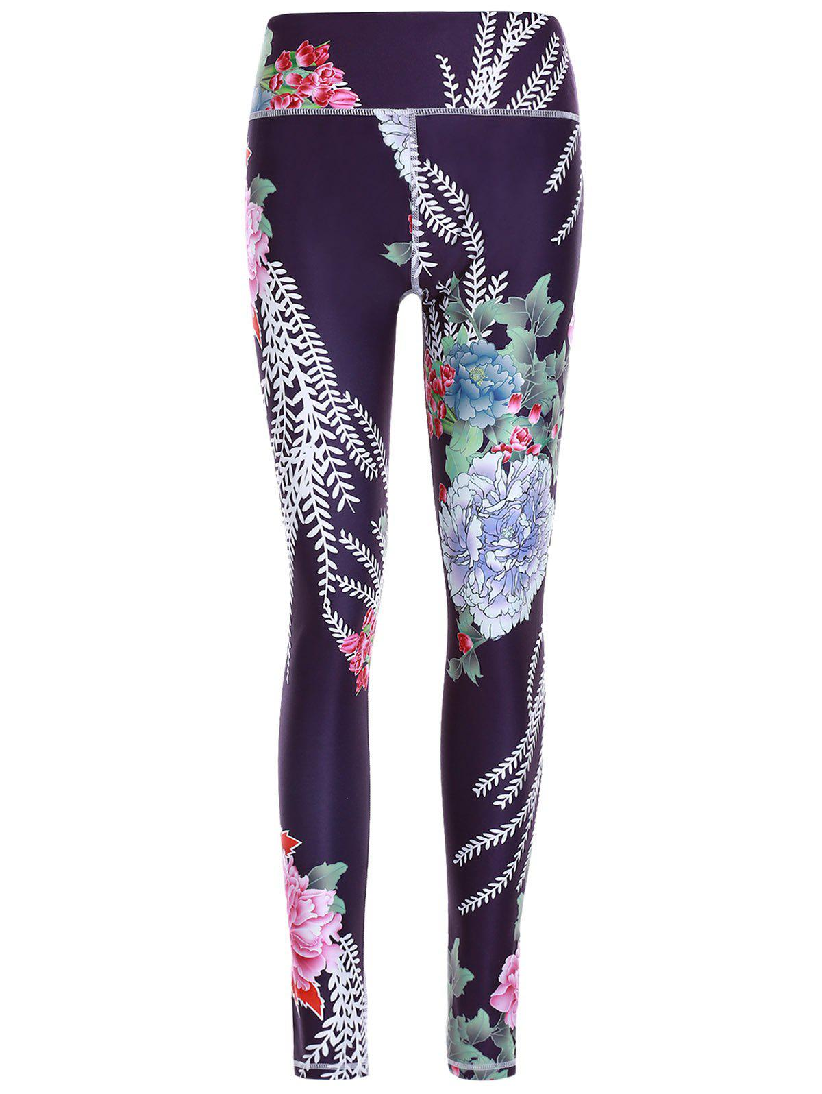 Sporty Women's Floral Print Slimming Pants - BLACK M