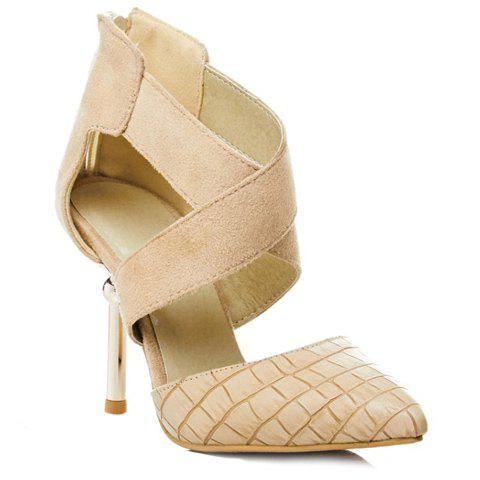 Stylish Cross-Strap and Stone Pattern Design Women's Pumps - APRICOT 34