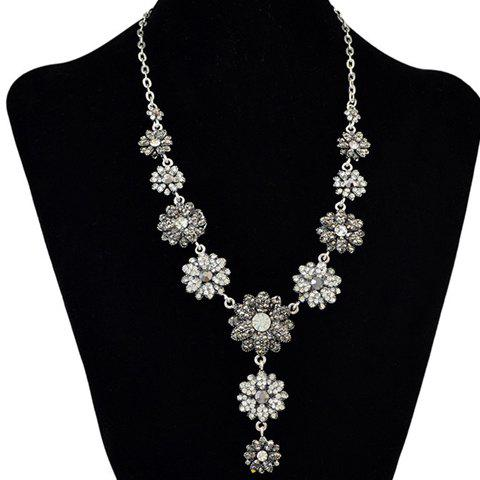 Faux Crystal Rhinestone Flowers Pendant Necklace - SILVER
