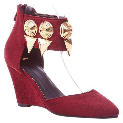 Stylish Metallic and Pointed Toe Design Womens Wedge ShoesShoes<br><br><br>Size: 39<br>Color: RED