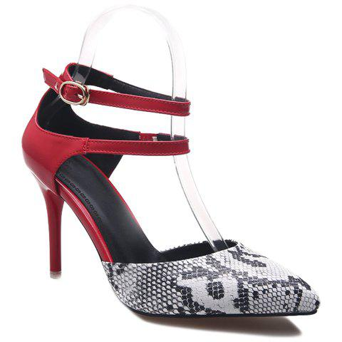 Stylish Two-Piece and Snake Print Design Women's Pumps - RED 34