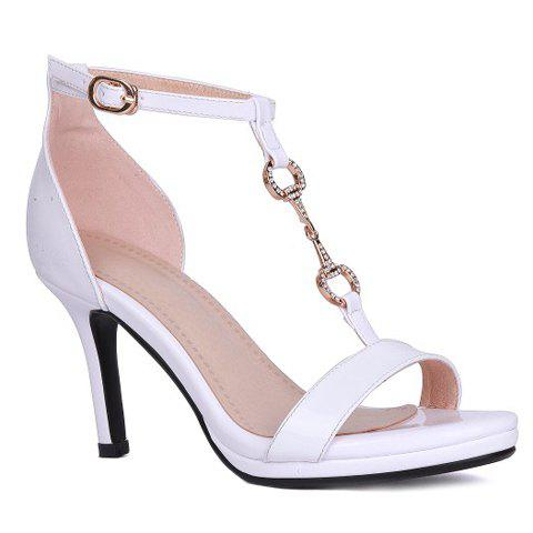 Trendy T-Strap and Metal Design Women's Sandals - WHITE 38