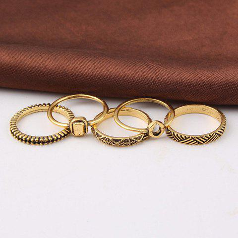 Simple 5 Pcs/Set Emboss Solid Color Alloy Rings For Women