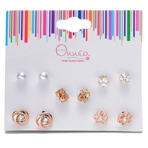 A Suit of Faux Pearl Rhinestone Floral Earrings - GOLDEN