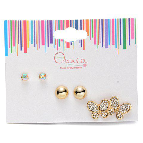 A Suit of Butterfly Rhinestone Earrings - GOLDEN