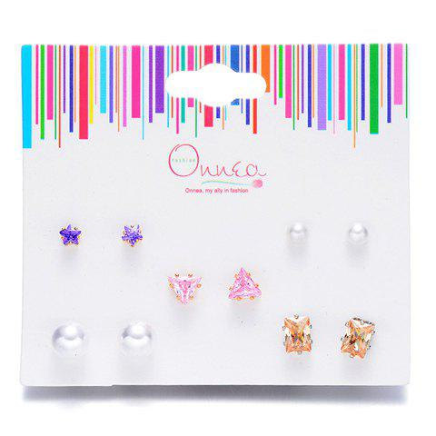 A Suit of Chic Faux Pearl Star Geometric Earrings For Women