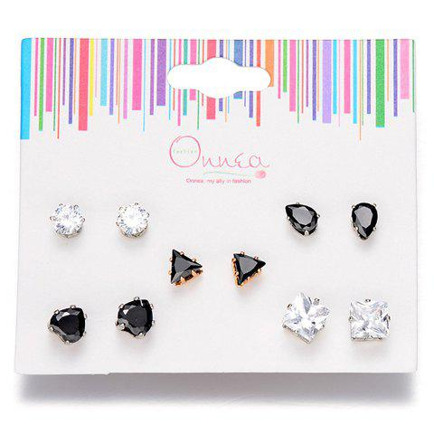 A Suit of Geometric Rhinestone Water Drop Earrings - BLACK