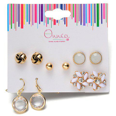 A Suit of Rhinestone Alloy Floral Earrings - GOLDEN