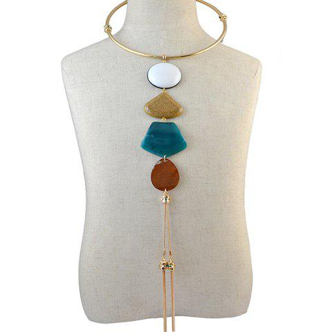 A Suit of Faux Gems Water Drop Geometric Tassel Necklace and Earrings - COLORMIX